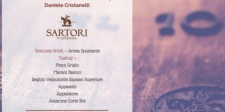 Sartori wine Tasting 6th July on 06/07/2018