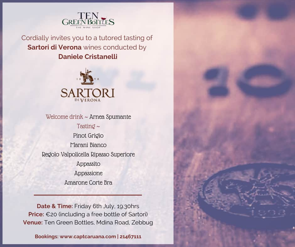 Sartori Wine Tasting 6th July