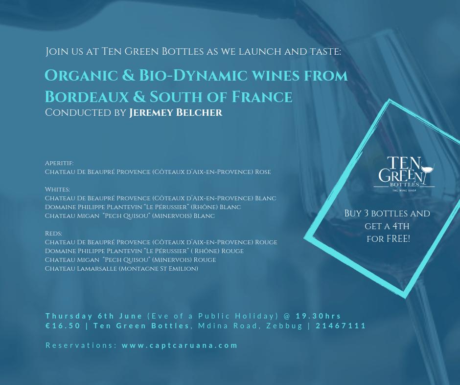 6th June Organic and Bio- dynamic wines