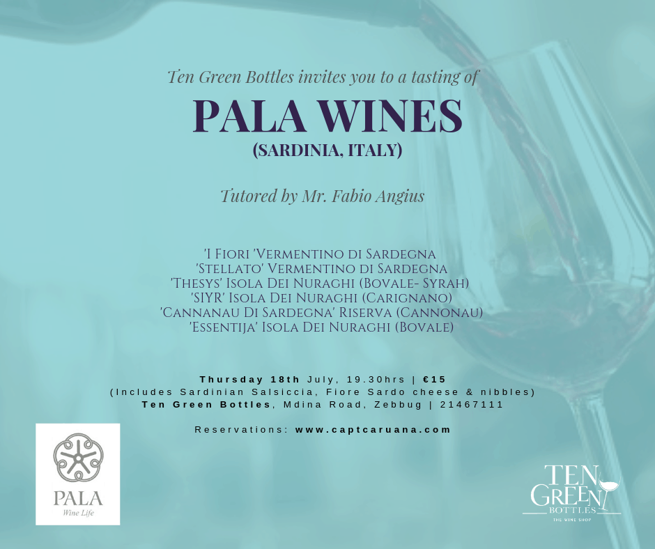 Pala wines 18th July ten green bottles