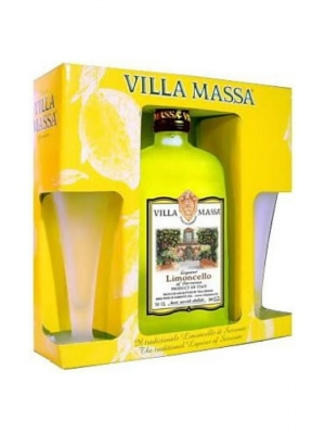 Villa Massa Limoncello + Glasses 75cl Gift Pack