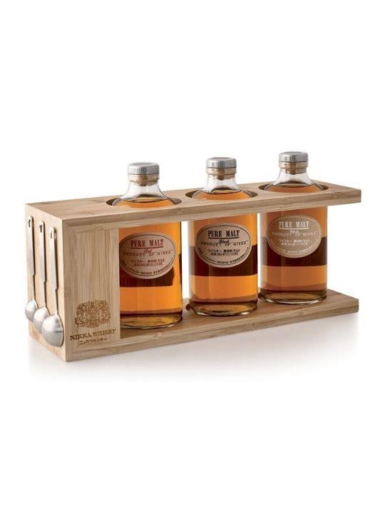 nikka coffret pure malt whisky wooden rack
